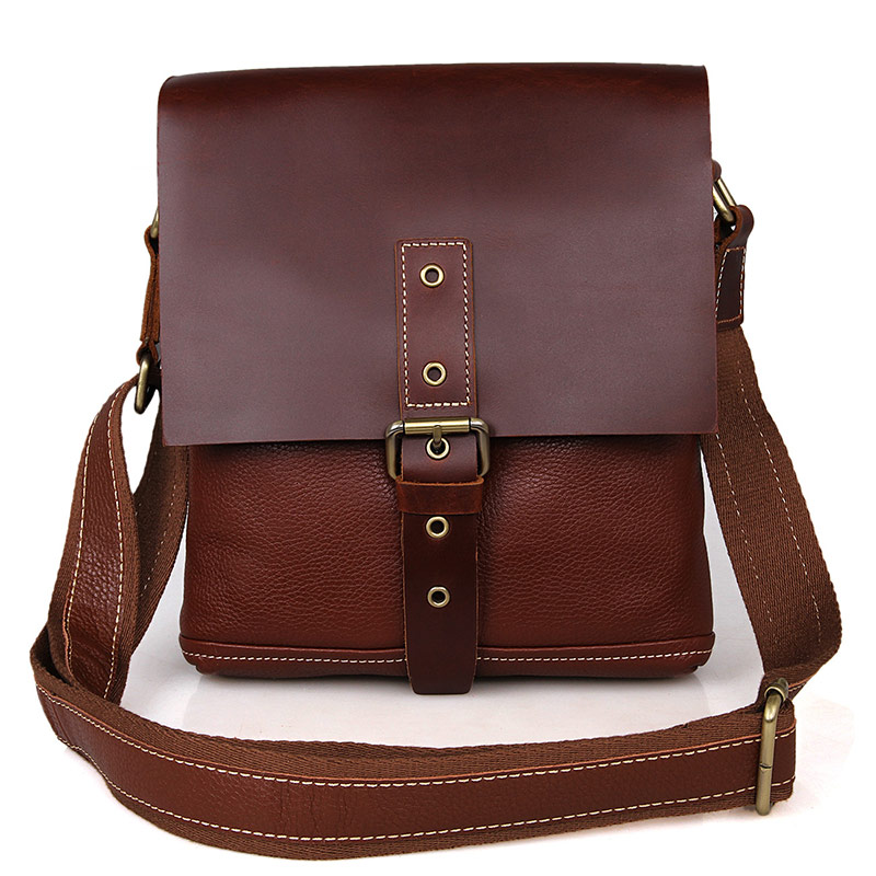 7157B Unisexual Genuine Leather Messenger BagsCowboy Vintage Leather Shoulder Messenger