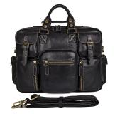 7028A-1 Black Cowhide Leather Laptop Bag for Men Fashion Handbag