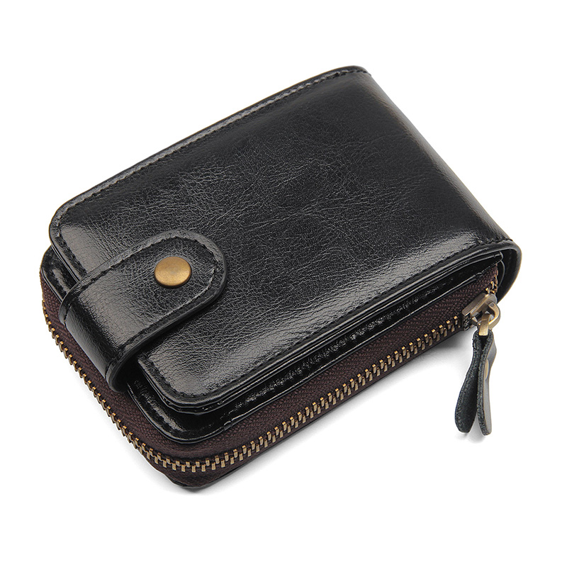 R-8192A Black Real Cow Leather Large Capacity Card Holder