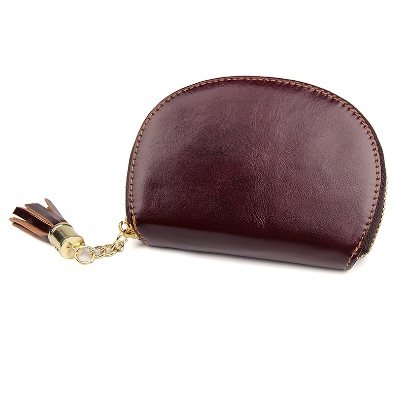 R-8193X  High Quality Brown Red Cowhide Lady Girls Card Holder