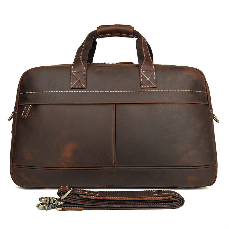 6006R High Quality Crazy Horse Leather Travel Handbag for Men