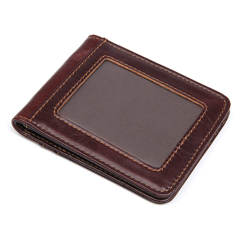 8333Q Simple Cowhide Money Clip Card Holders Wallet