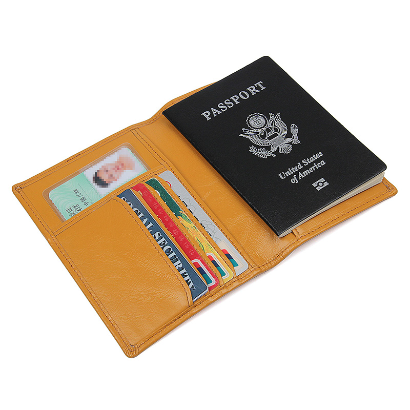 R-8190D  Orange 100% Cow Leather Passport Holder for Lady