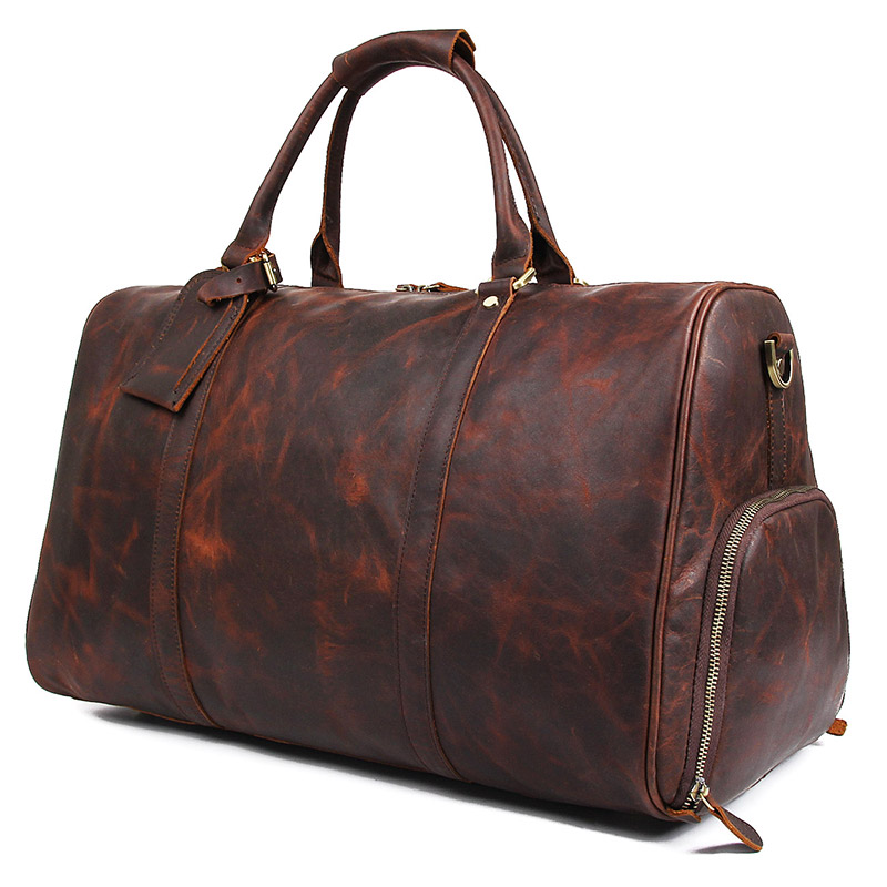 X-7077LQ  Dark Brown Cow Leather Travel Tote Trolley Dispatch Bag for Men