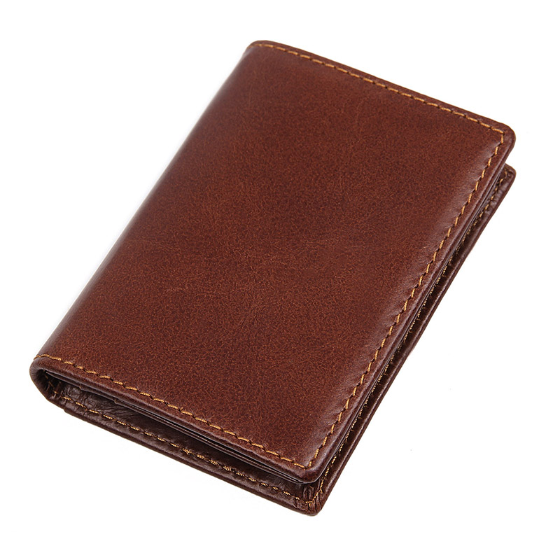 R-8078C 100% Cowhide Leather Men's Coffee RFID Card Holder Purse