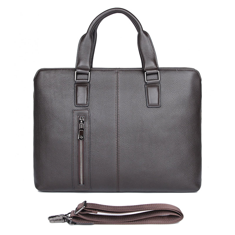 7411Q  Coffee Real Soft Cow Leather Briefcase Laptop Bag