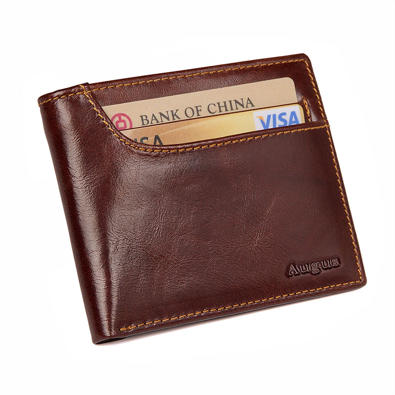 R-8104Q-1 Multi-function Cow Leather Wallet RFID Card Holder for Men