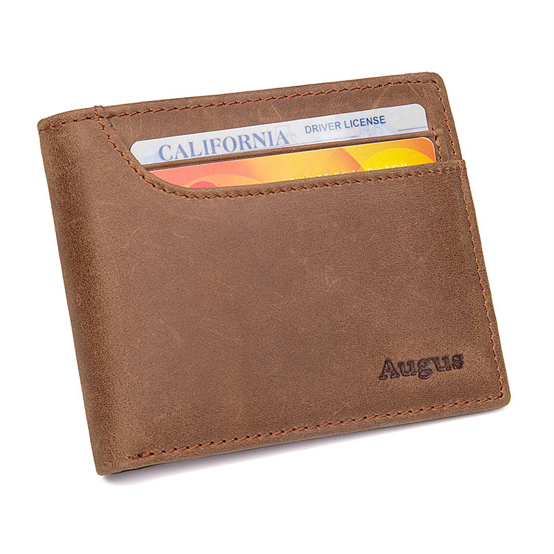 R-8104R-1 Crazy Horse Leather Wallet RFID Card Holder