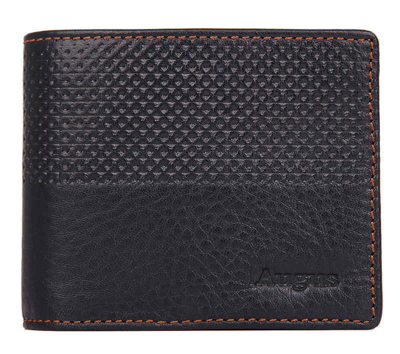 R-8147A-1 Unique Design Black Soft Cow Leather Mini Wallet Purse