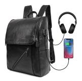 G-7344A-1  Black Cow Leather Power and USB Function Backpack
