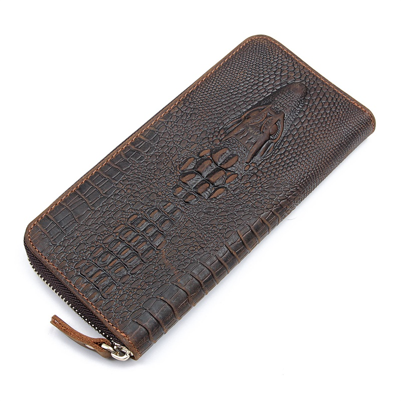 8067R Crocodile Pattern Crazy Horse Leather Zippered Clutch Bag Card Holder Brown