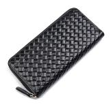 8067A Fashion Large Capacity 100% Real Genuine Leather Purse Wallet Black Color