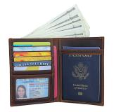 R-8450R  Dark Brown Durable Leather RFID Wallet Passport Holder