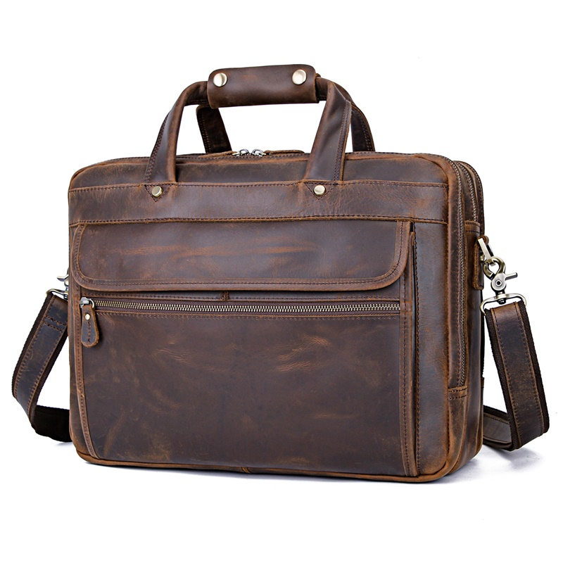 7388R-Y  Leather Briefcase Genuine Leather Handbag